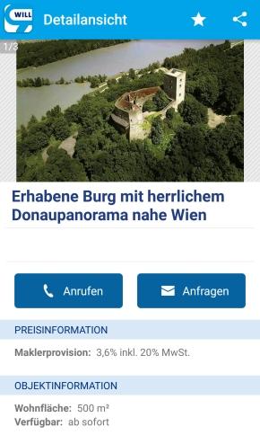 Mittelalterliche Burg Greifenstein wird auf willhaben zum Verkauf angeboten